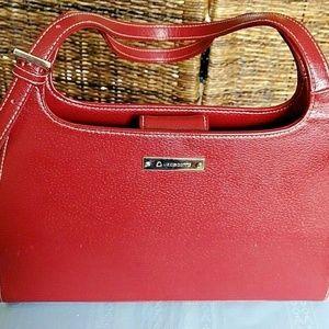 LIZ CLAIRBORNE Faux Leather Handbag Red Shoulder B